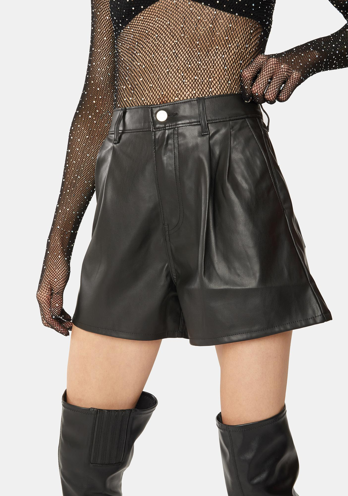 Levis Night High Rise Faux Leather Shorts