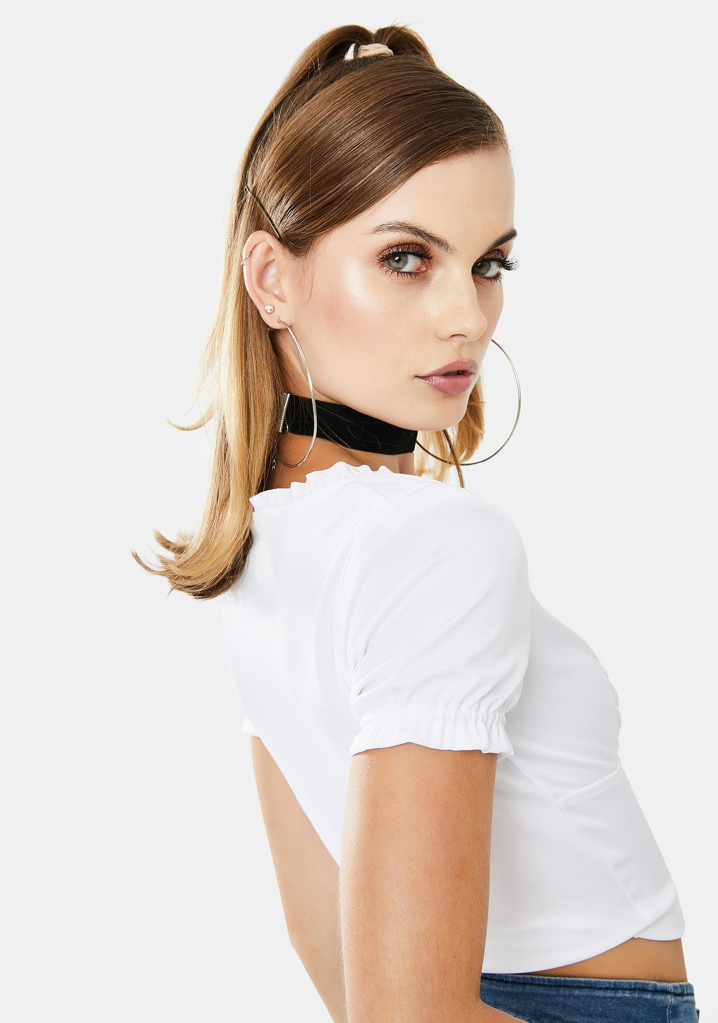 ZEMETA Eyelet Tie Up Crop Top