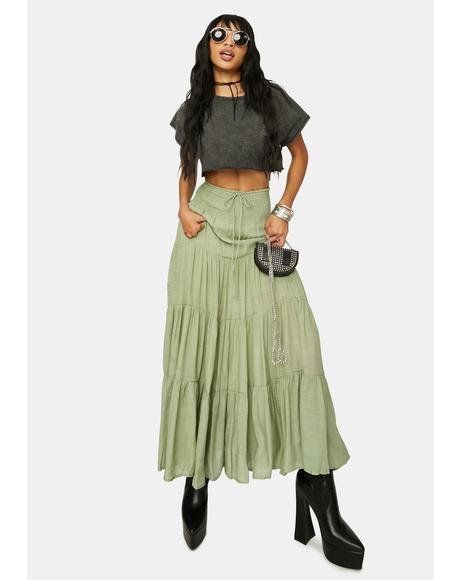 Olive Take It Easy Smocked Maxi Skirt