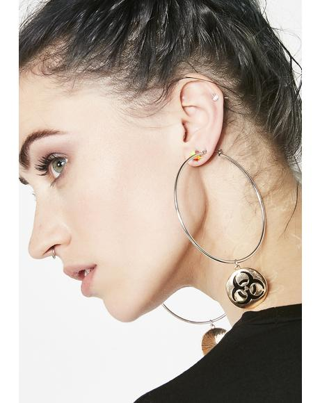 Gilded Danger Biohazard Earrings