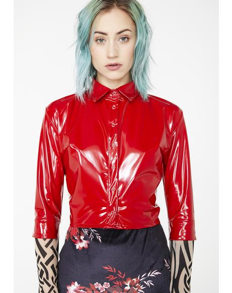 Pure Red Vinyl Crop Shirt