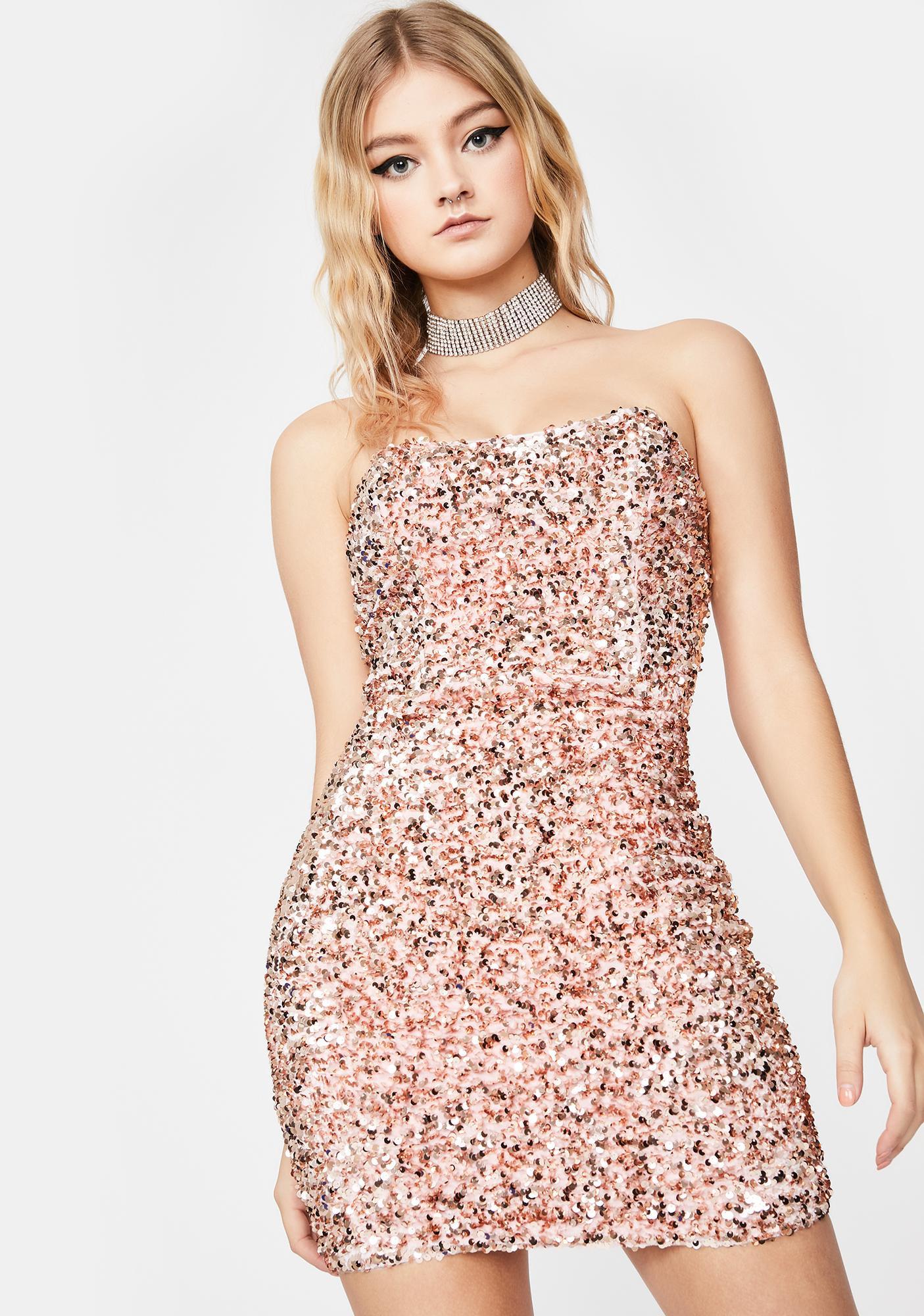 Sequin Tube Mini Dress Bodycon Strapless Pink Rose Gold Dolls Kill