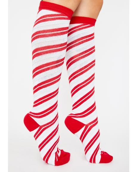 Sleigh Gurl Candy Cane Socks