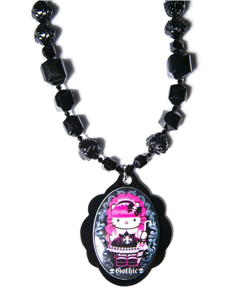 Adjustable Multibead Necklace With Cameo