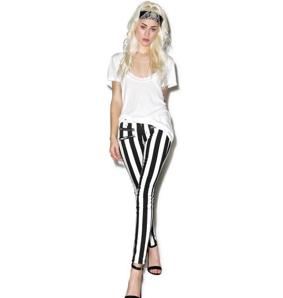 Lydia Striped Skinny Jeans