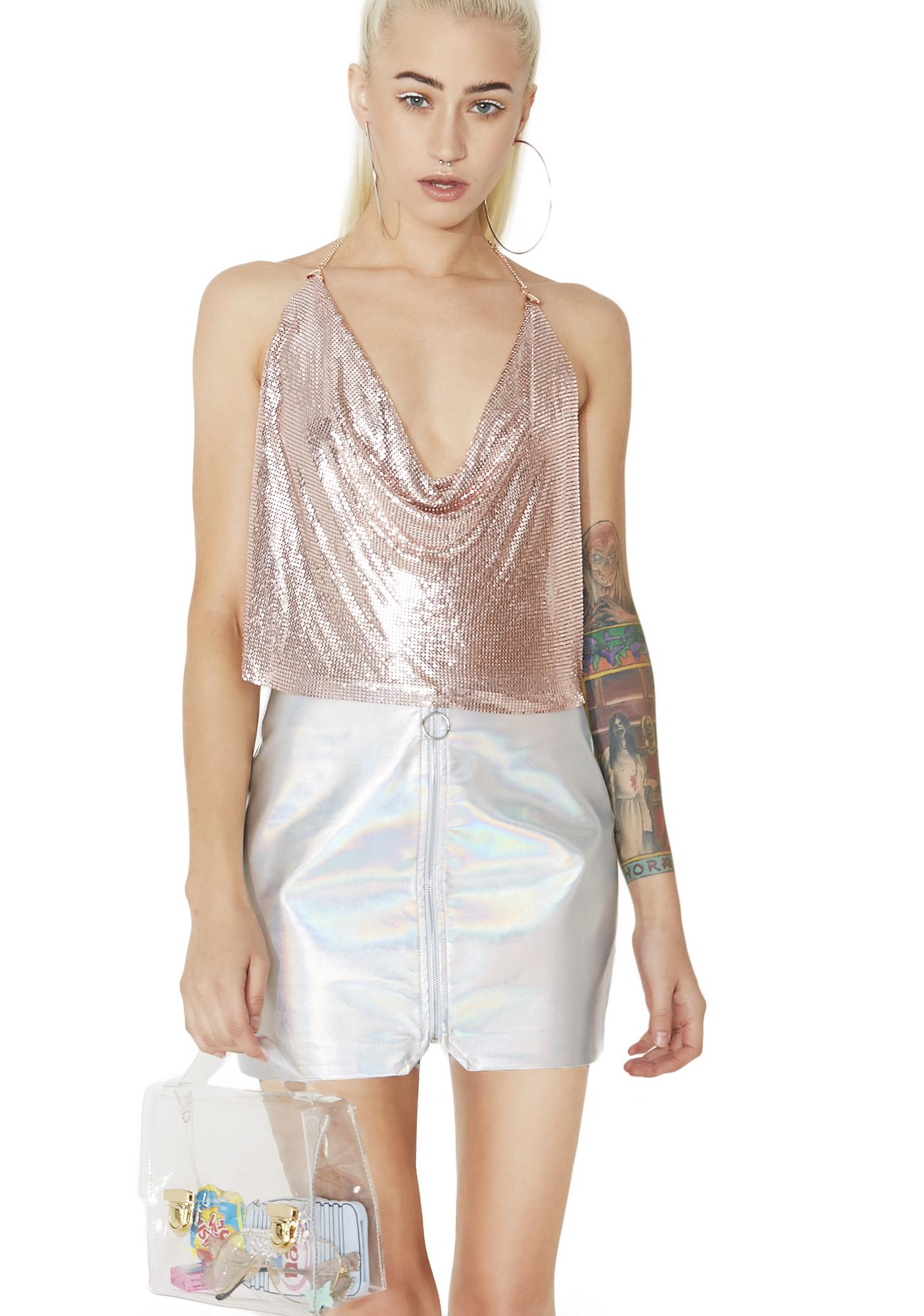 Rose Whole Shebang Chainmail Crop Top