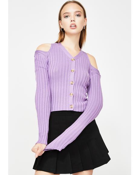Lavender Cold Shoulder Knit Cardigan