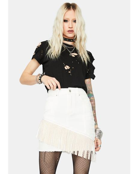 Can't Hold Me Back Fringe Denim Skirt