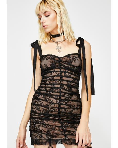 Black Dolly Lace Mini Dress