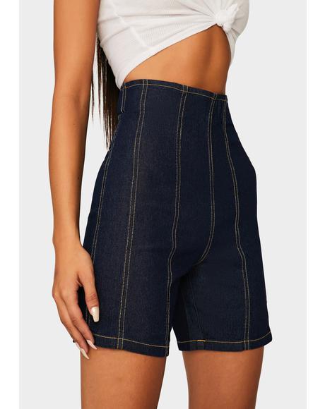 What U Doin Denim Shorts