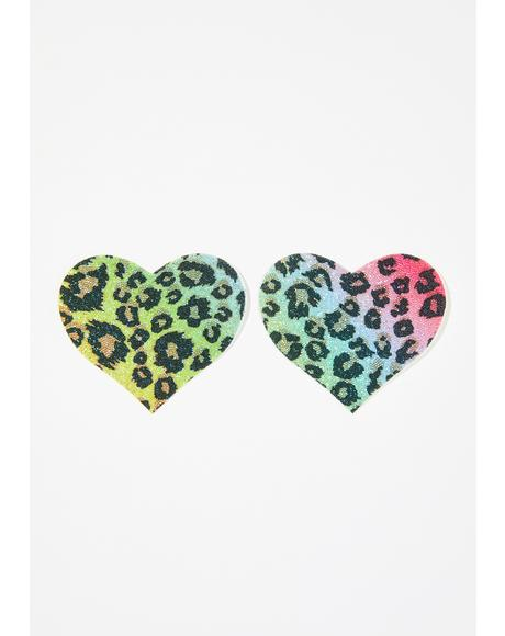 Cheetah Glitter Heart Pasties