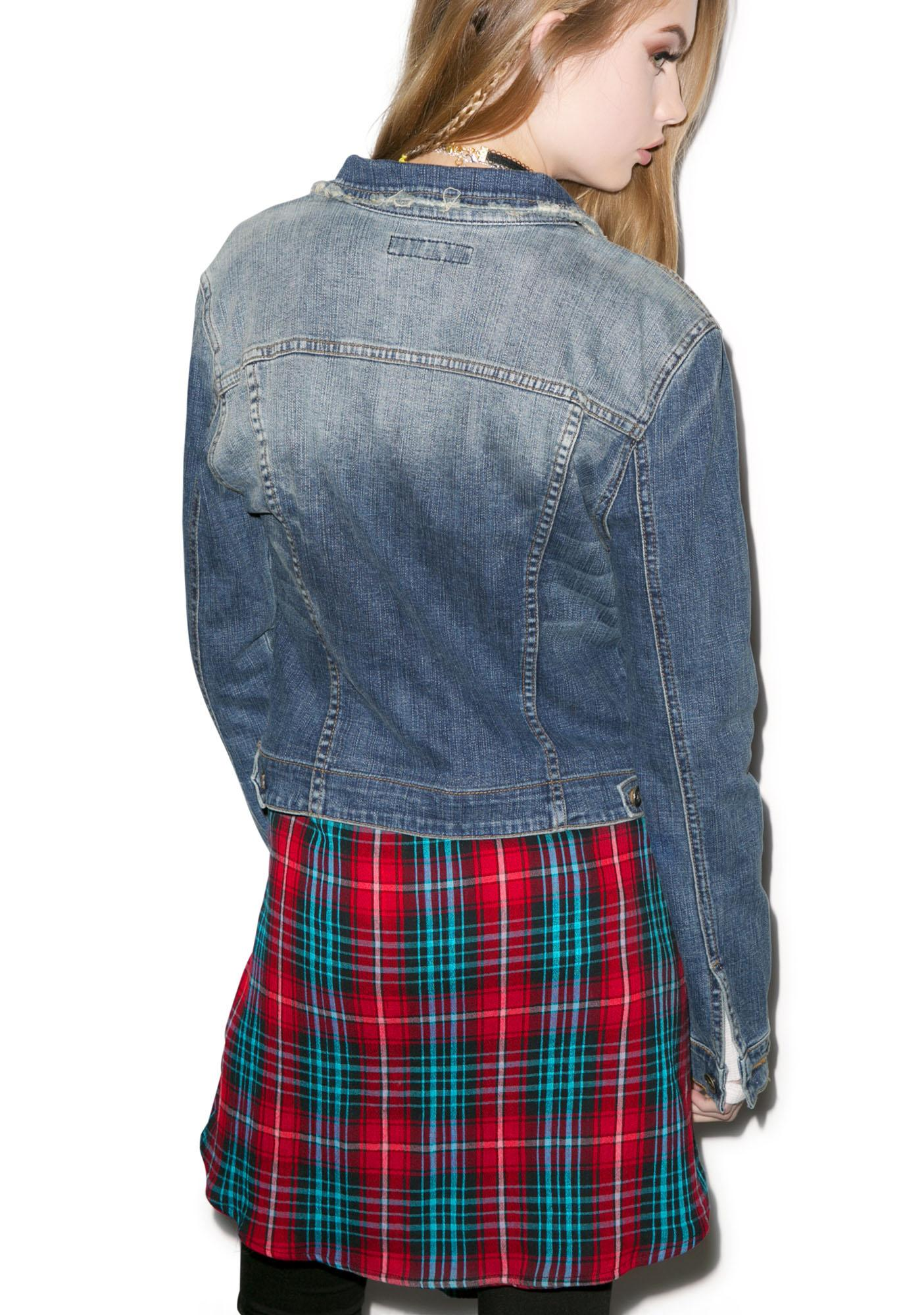 JET by John Eshaya Plaid Tie Jean Jacket