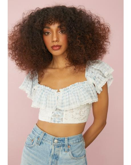 Sky Slice Of Heaven Gingham Ruffle Top