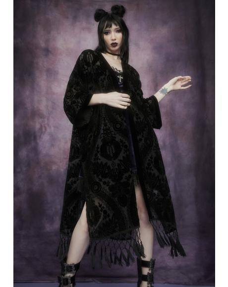 Been Vexed Velvet Fringe Kimono