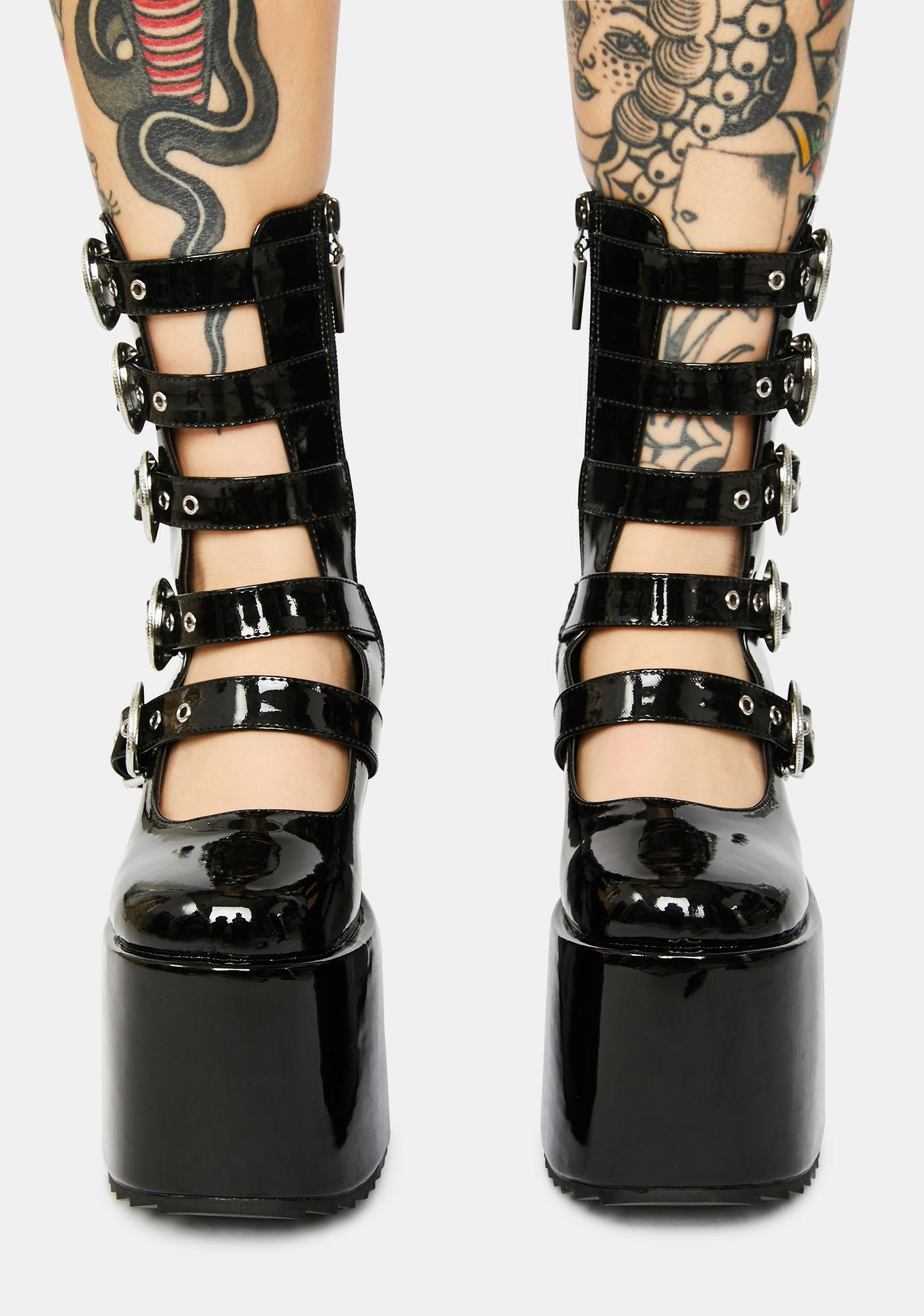 Wicked Patent High N Mighty Buckle Strap Platforms