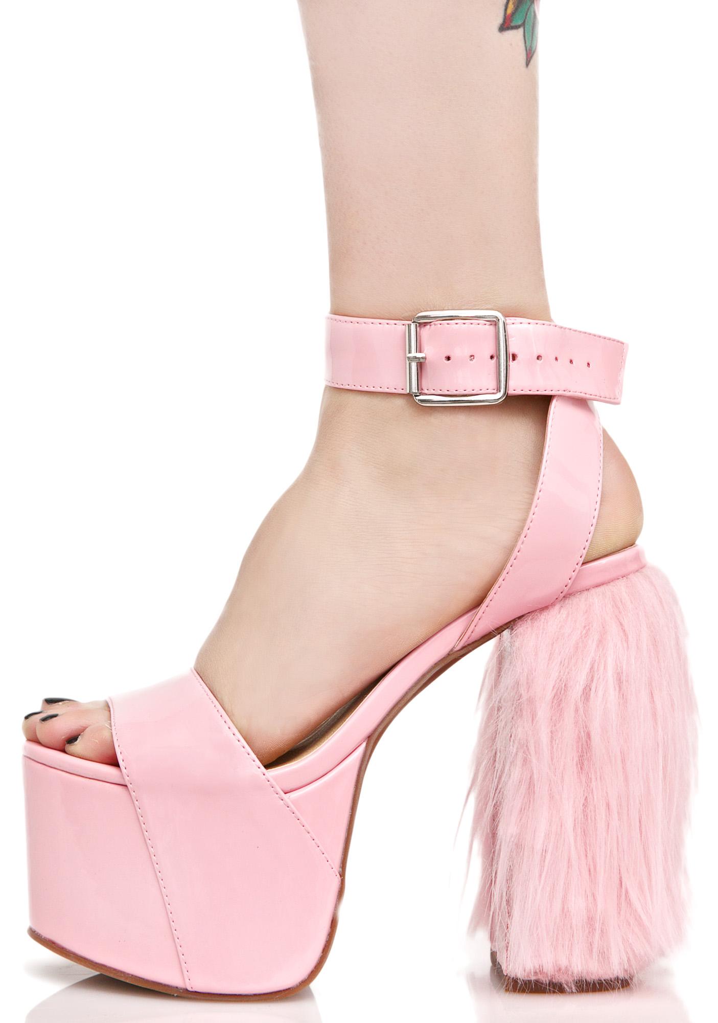 Pink Unicorn Faux Fur Platform Heels