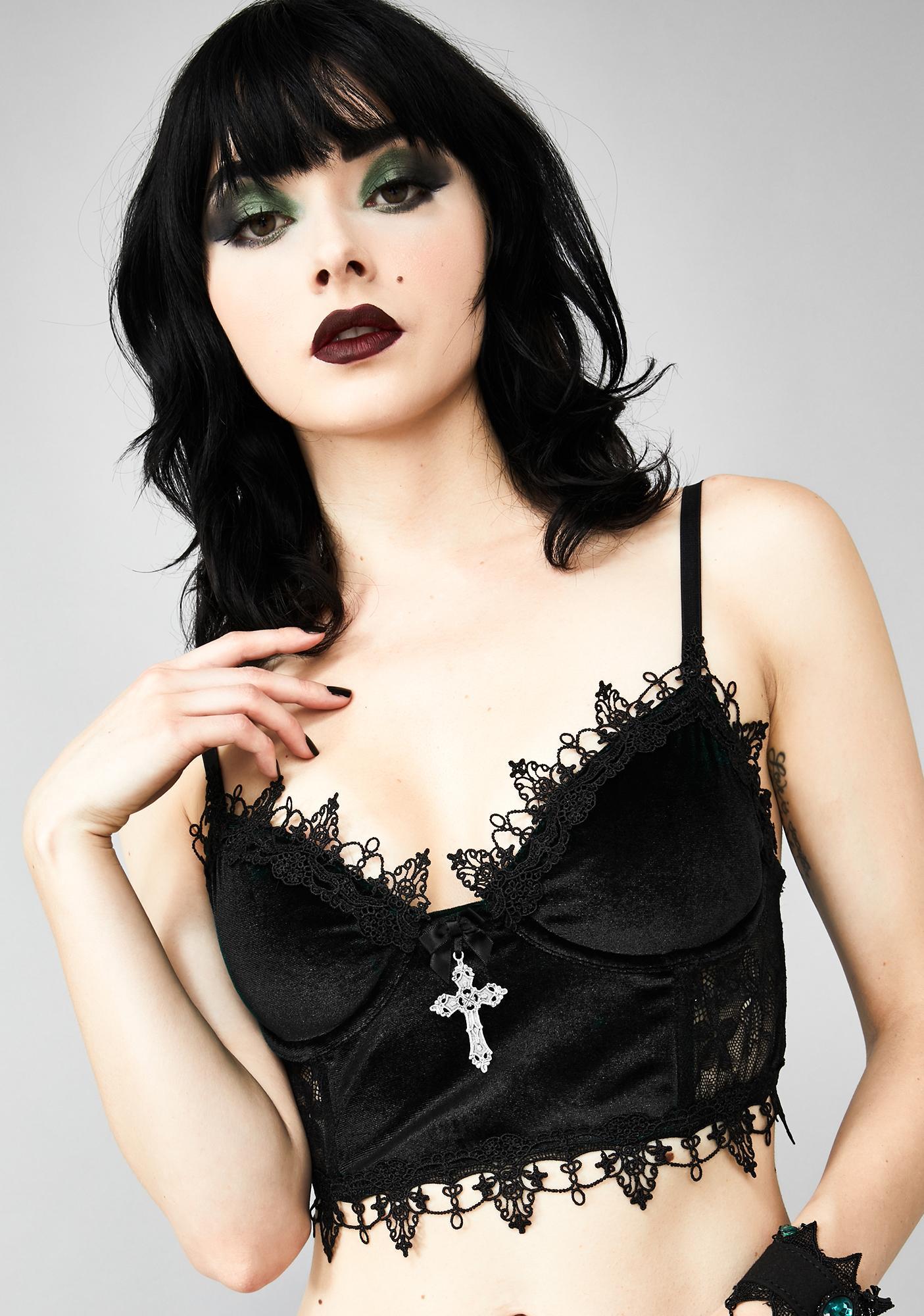 Widow Dark Morphine Eyes Velvet Bra