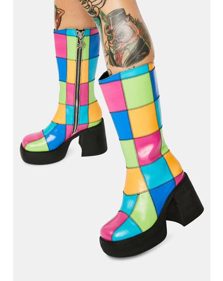 Colorful Life Patchwork Knee High Boots