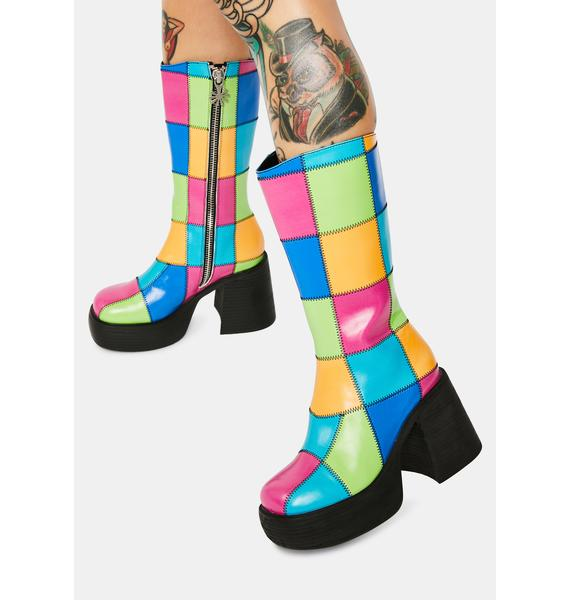dELiA*s by Dolls Kill Colorful Life Patchwork Boots