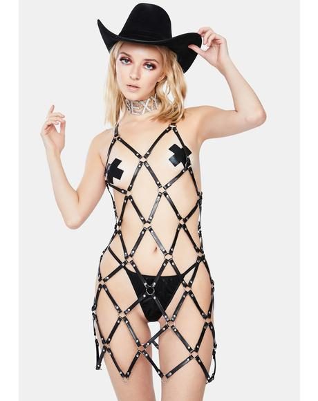 Vegan Leather Fishnet Harness Dress