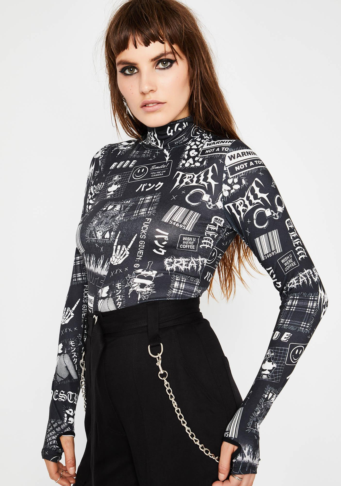 Current Mood Rising Tension Mock Neck Top