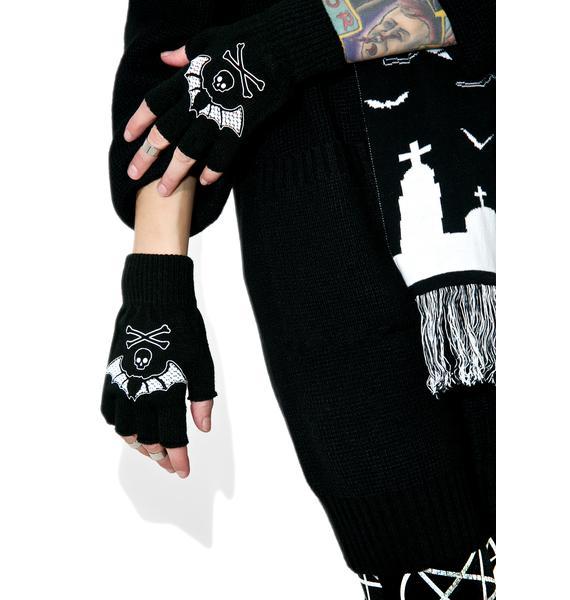 Too Fast Bat Lace Fingerless Gloves