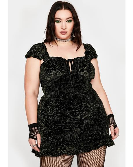 Plus Velvet Glitter Constellation Dress