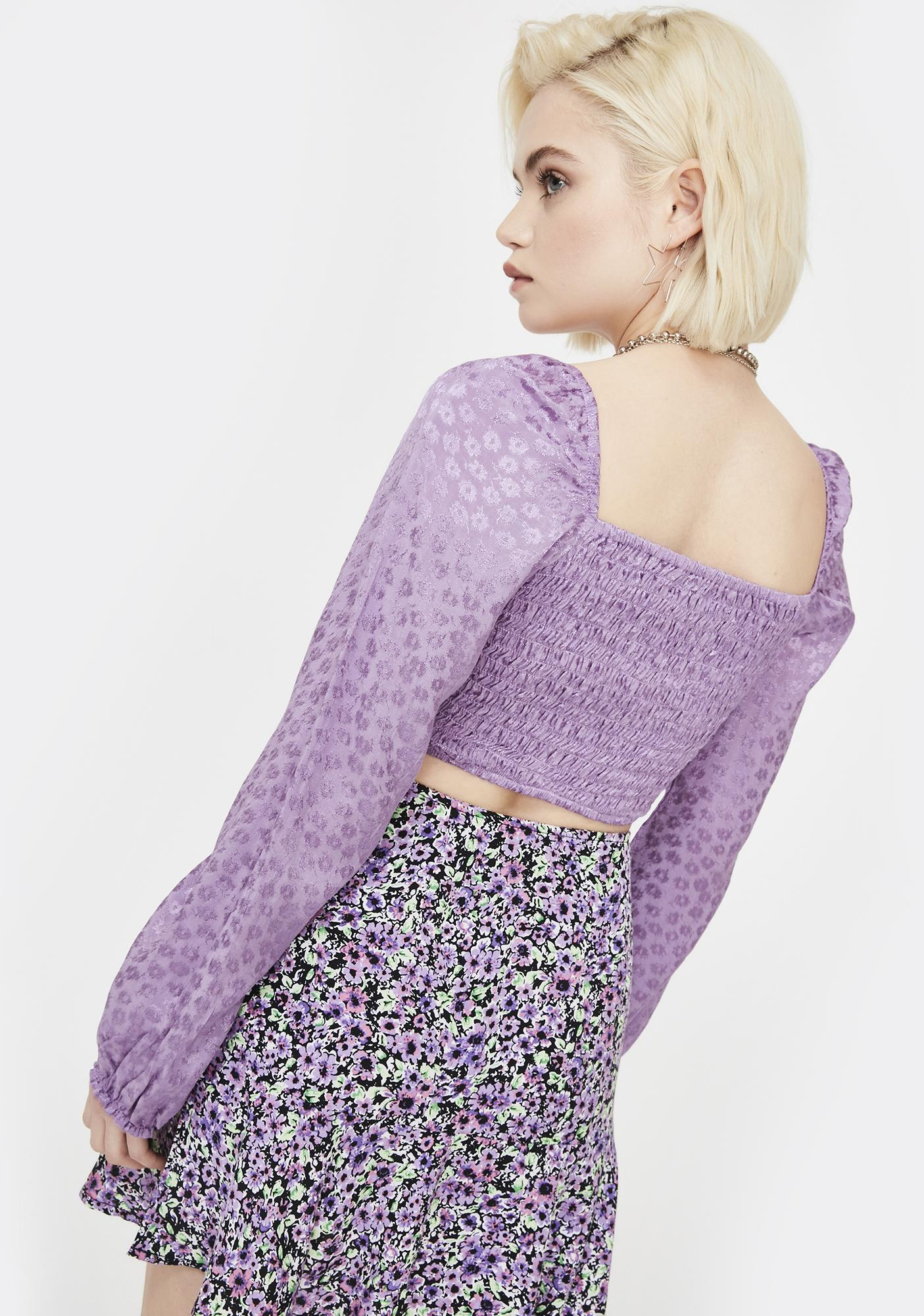 Motel Lavender Elina Crop Top