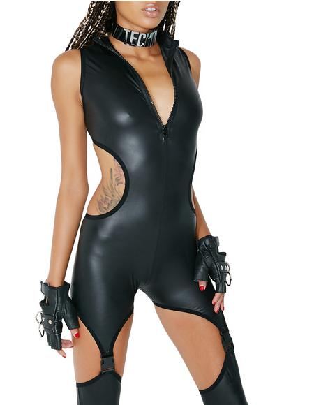 Deadly Darkstep Cut-Out Catsuit
