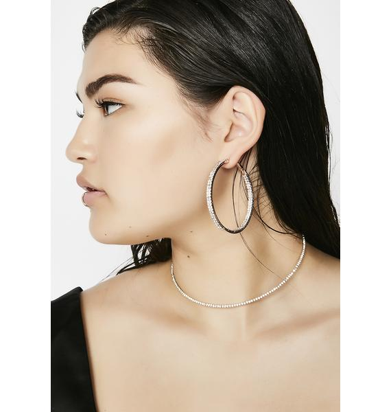 Light Flash Rhinestone Hoops