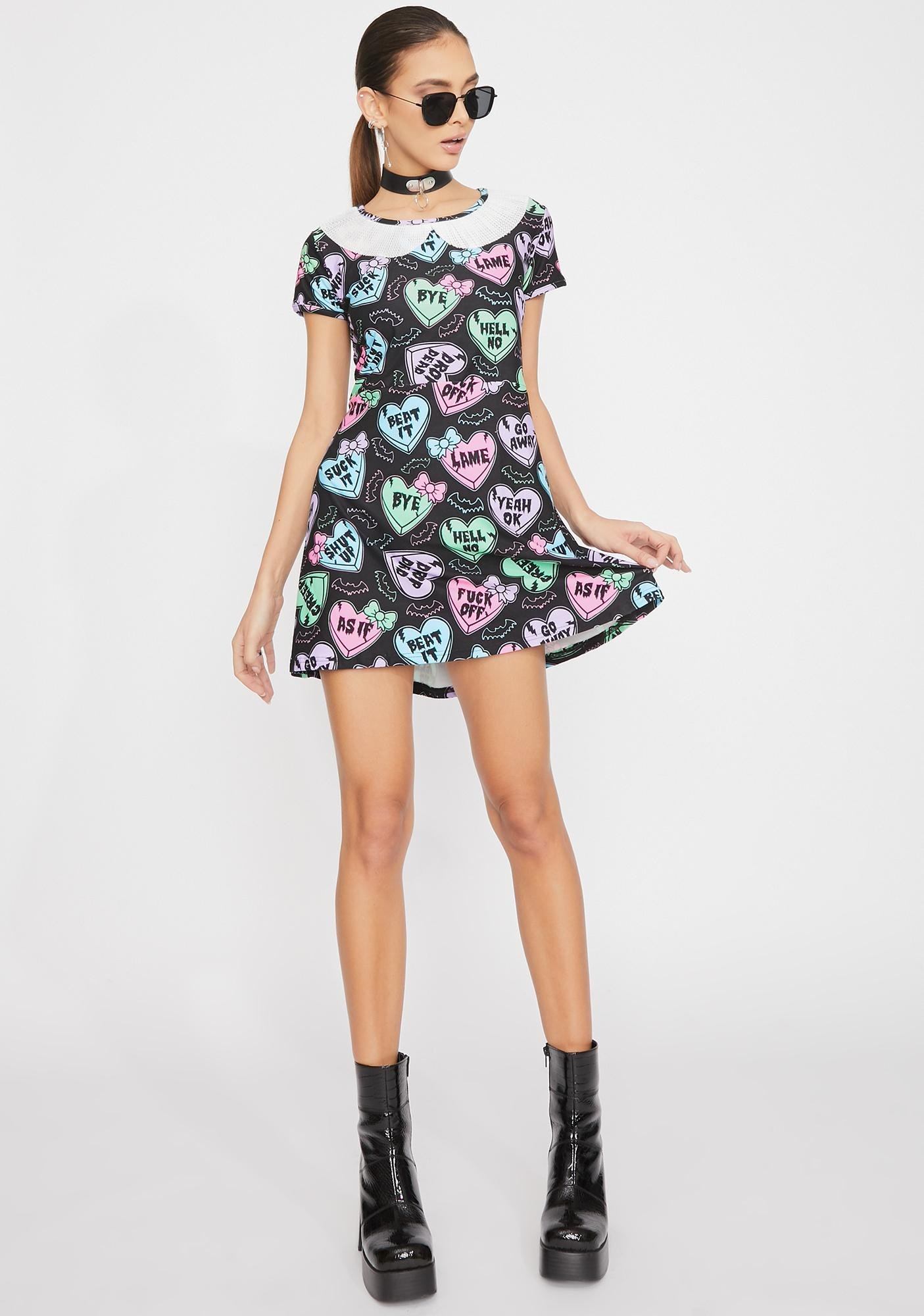 Too Fast Creepy Candy Hearts Collared Dress