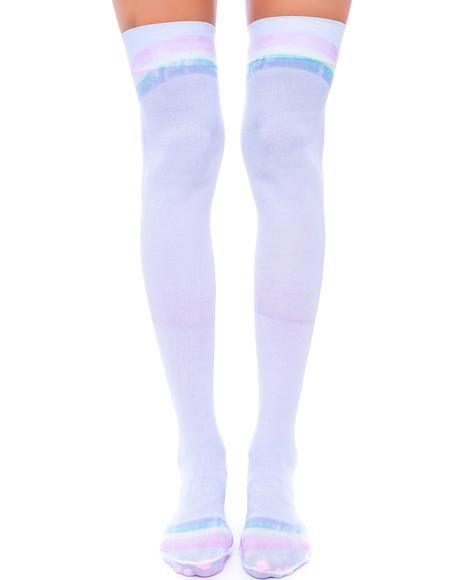 Rainbow Thigh High Sox
