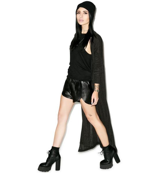 Black Scale Vesna Leather Shorts