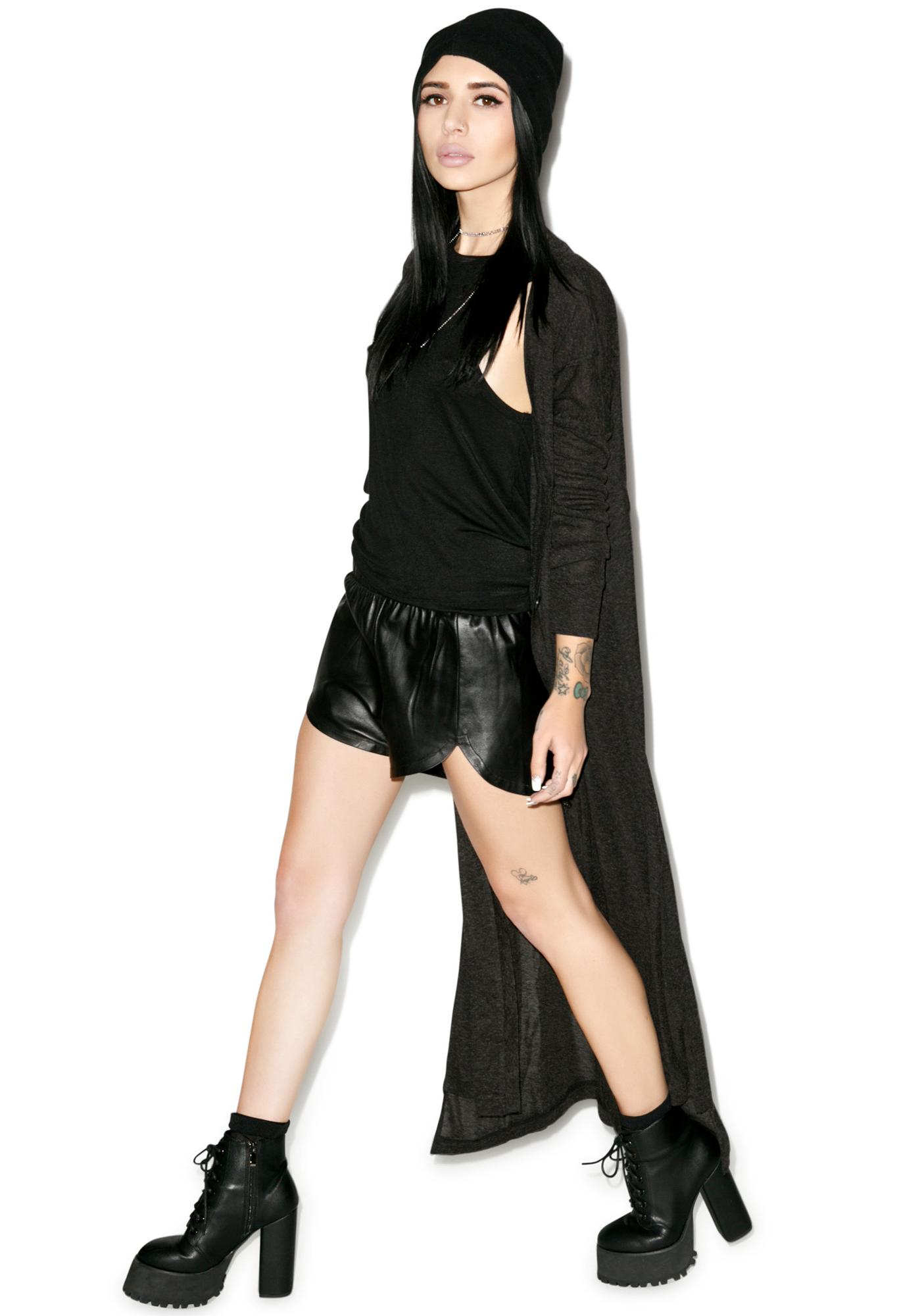 Black Scale Vesna Leather Shorts