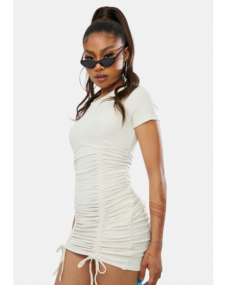 Over N Over Again Ruched Mini Dress