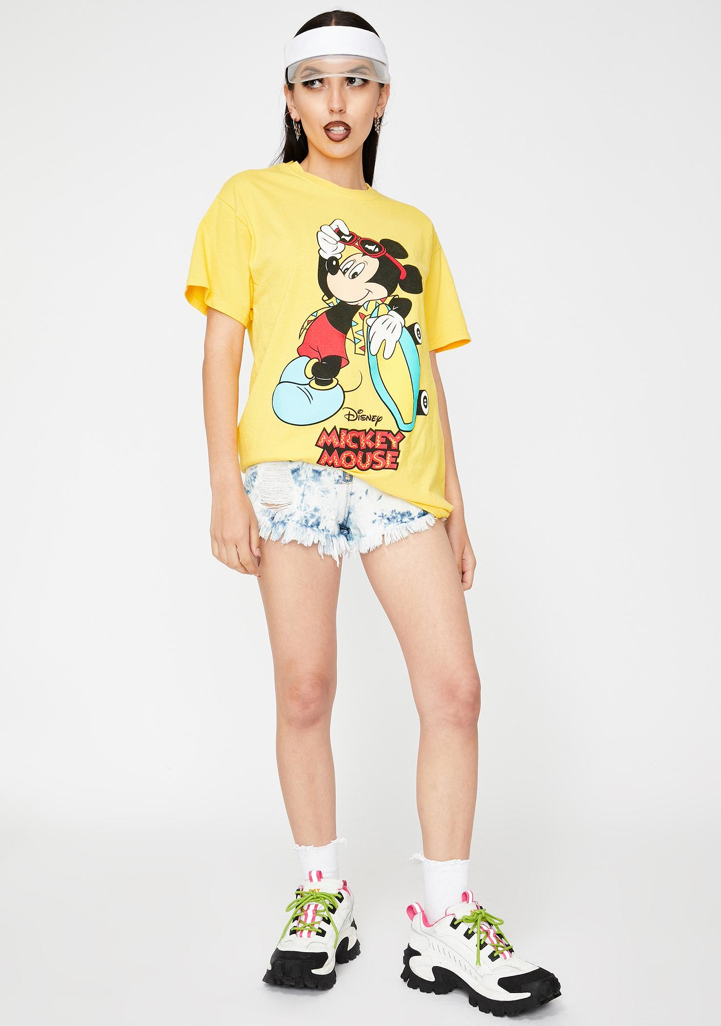 Homage Yellow Mickey Surf Graphic Tee