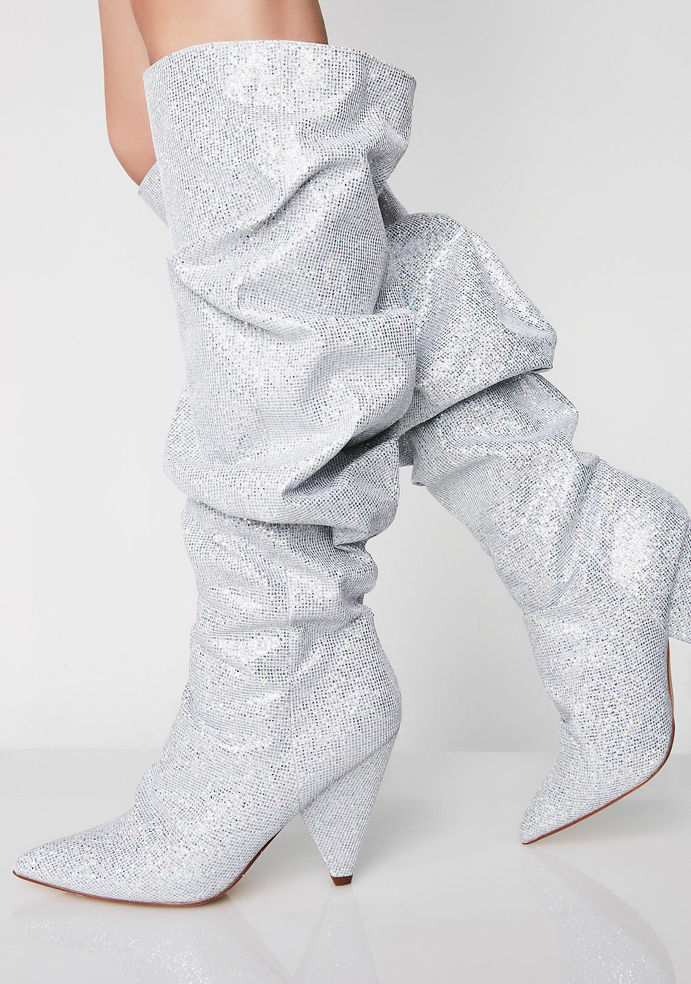 Platinum Stay Shinin' Scrunch Boots