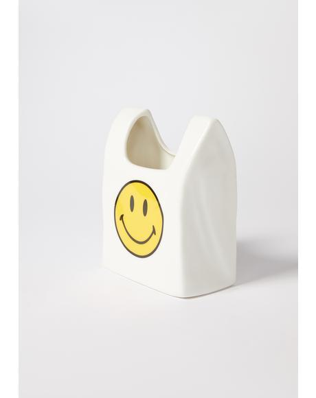 Smiley Bag Ceramic Pen Holder