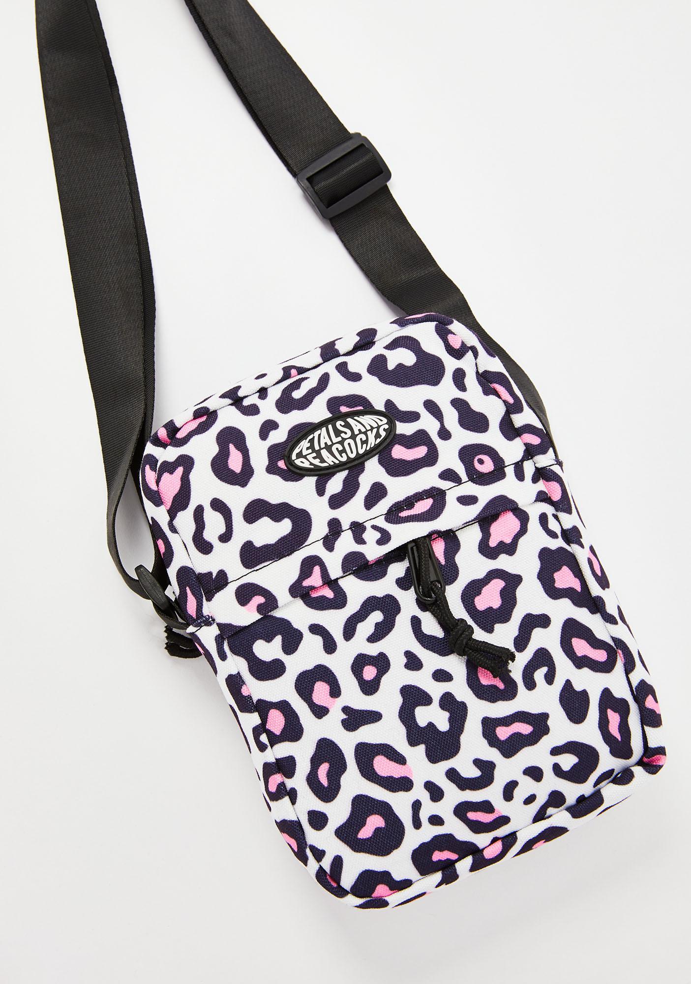 Petals and Peacocks Leopard Shoulder Bag