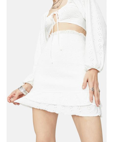 Room With A View Eyelet Ruffle Mini Skirt