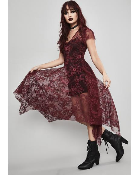 Wine Dearly Departed Lace Dress