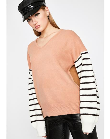 Blush Cozy Life Striped Sweater