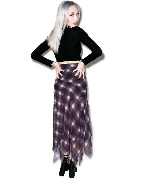 Riff Plaid Chiffon Skirt