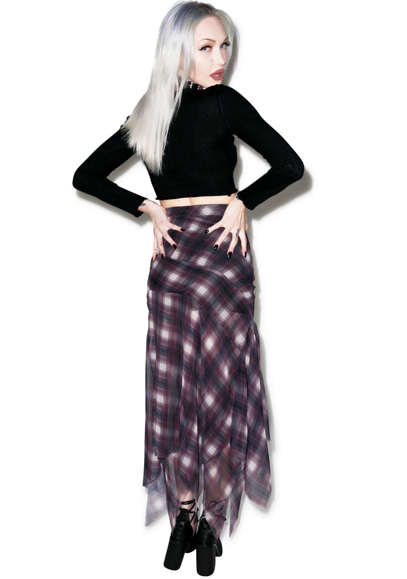 UNIF Riff Plaid Chiffon Skirt