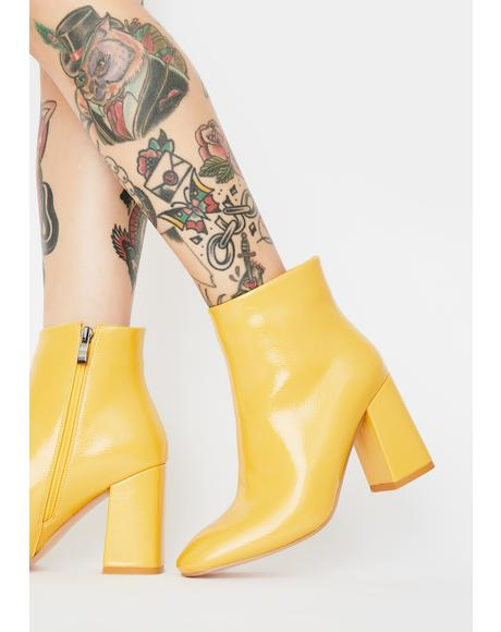 Mustard Aimee Patent Ankle Boots