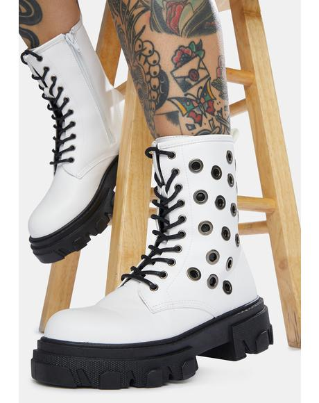 Purely Bad To The Bone Grommet Combat Boots