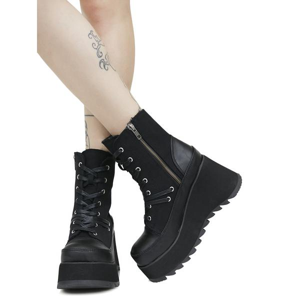 Demonia Scene Lace-Up Platform Boots