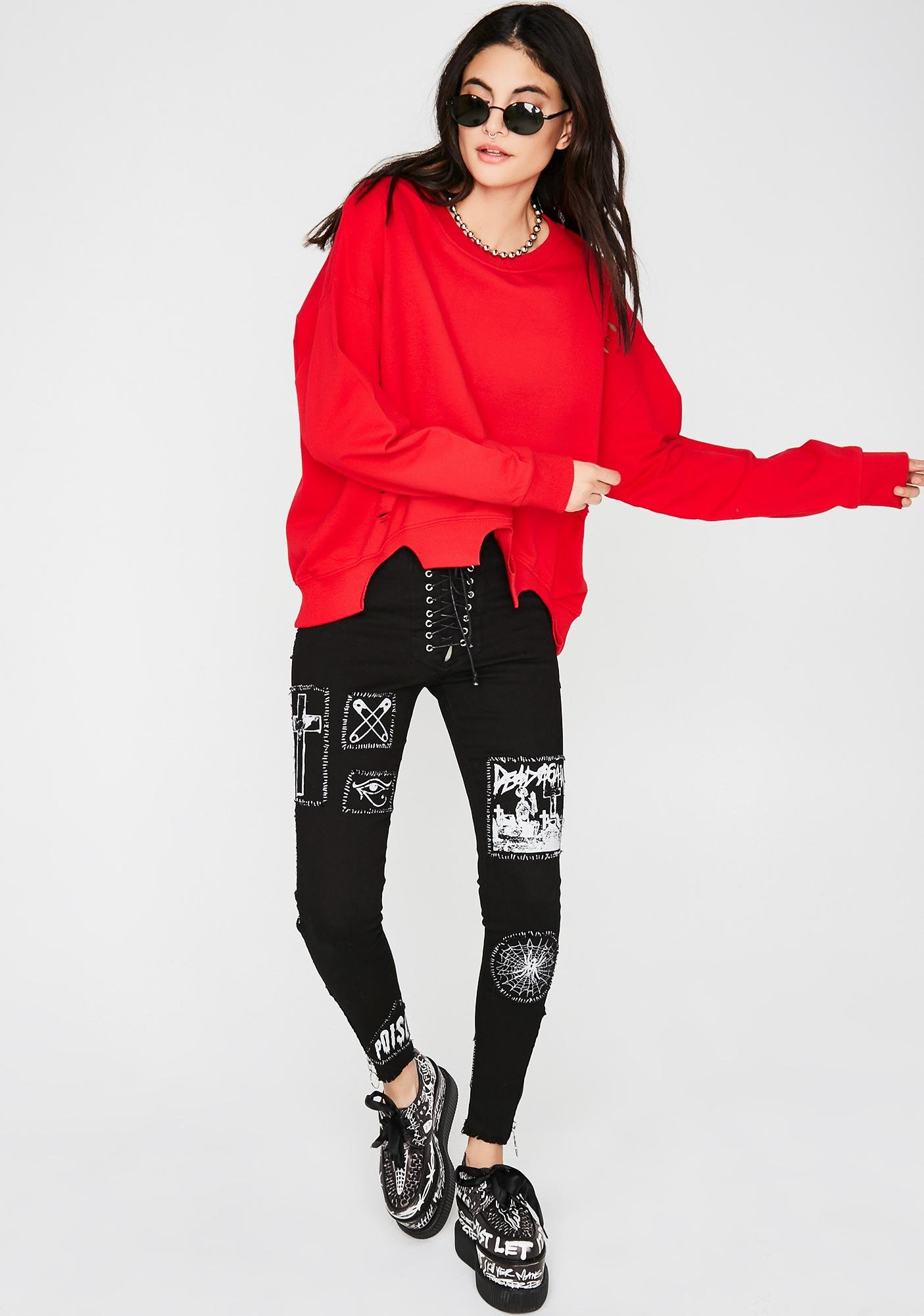 Never Stop Lace-Up Sweatshirt