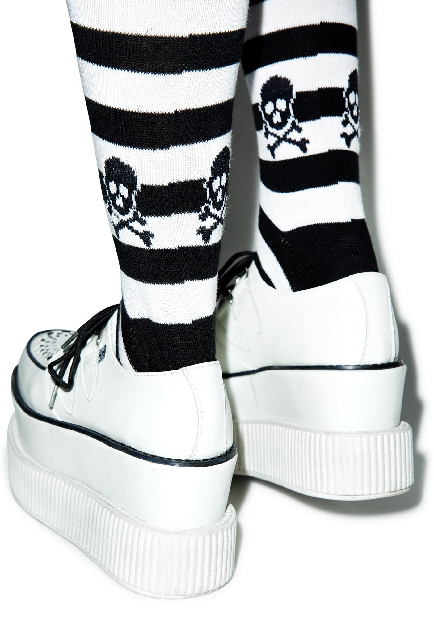 Sourpuss Clothing Skull Stripe Socks