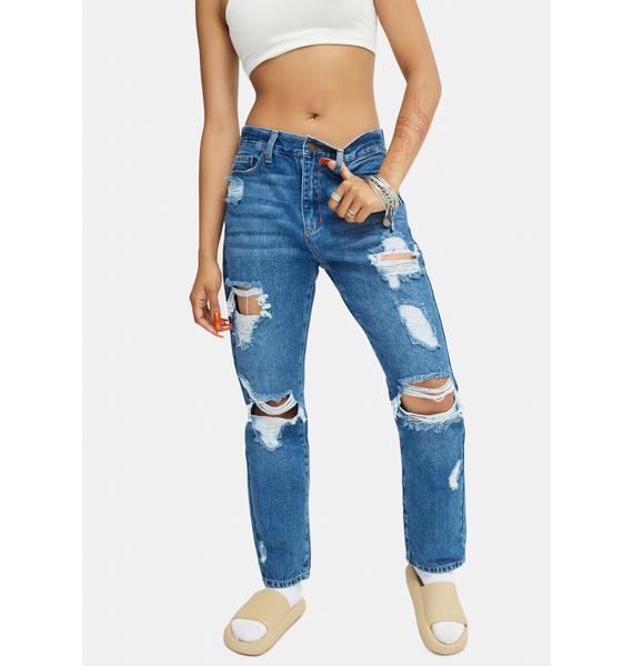 Just Black Denim  Super Destroyed Girlfriend Jeans